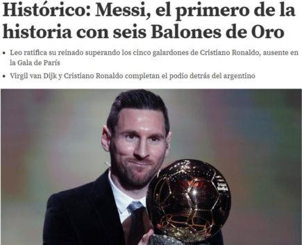 """Messi được báo chí mệnh danh là """"Vua bóng vàng"""",  vượt mặt Ronaldo giành quả bóng vàng thứ 6"""