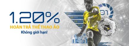 Nextbet hoàn trả 1.20% thể thao ảo