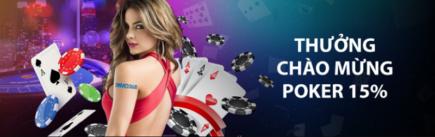Nhà cái cmd368 thưởng chào mừng 15% tại poker