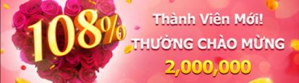 Vwin thưởng chào mừng 108% thành viên mới